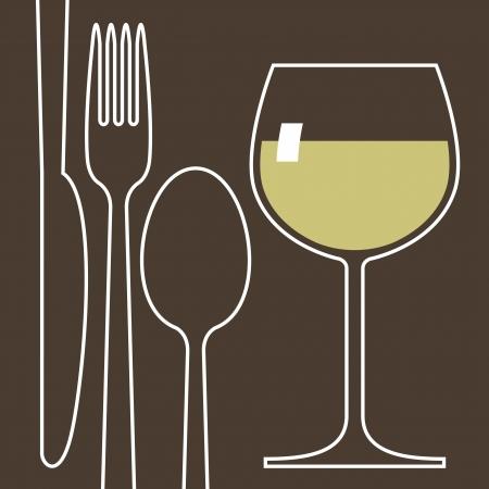 fork glasses: Bicchiere da vino e posate