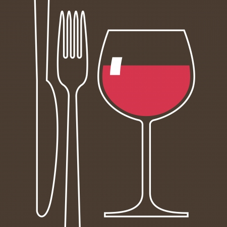 glass of wine: Wineglass and cutlery