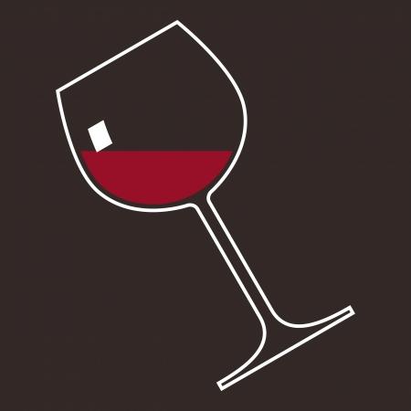 material de vidrio: Un vaso de vino tinto Vectores