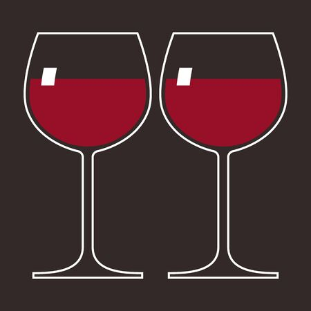 Two glasses of red wine Stock Vector - 14814785
