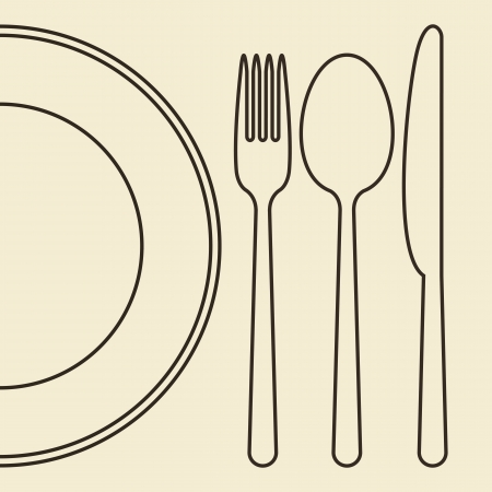 dinnerware: Plate, knife, fork and spoon