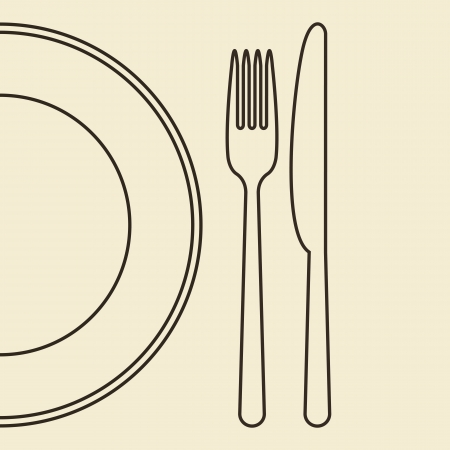 Plate, knife and fork Vector