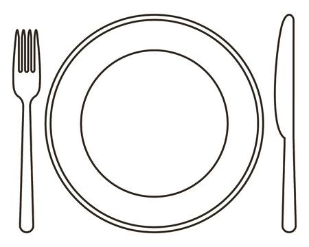 Plaque, fourchette et couteau
