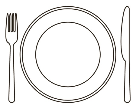 dinnerware: Plate, knife and fork