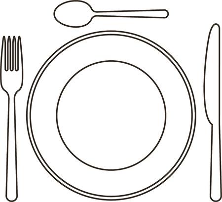 couteau fourchette cuill�re: Mise en place avec la plaque, couteau, cuill�re et fourchette Illustration