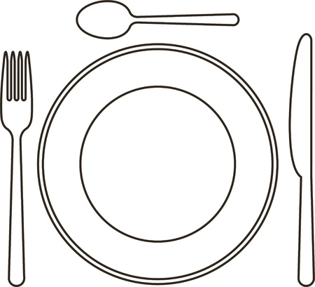 spoon: Place setting with plate, knife, spoon and fork