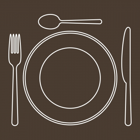 eating utensil: Place setting with plate, knife, spoon and fork