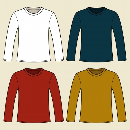 man t shirt: Long-sleeved T-shirt template Illustration