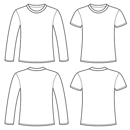 Long-sleeved T-shirt and T-shirt template Stock Vector - 15124627
