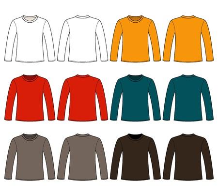 Lange mouwen T-shirt template Vector Illustratie