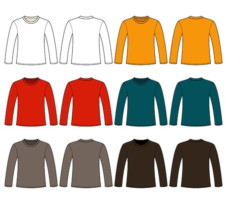 long sleeves: Long-sleeved T-shirt template Illustration