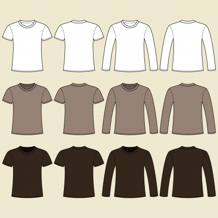 Long-sleeved T-shirt and T-shirt template Vector