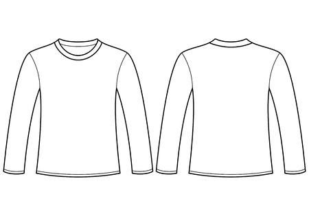 De manga larga T-shirt plantilla