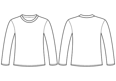 unisex: Long-sleeved T-shirt template Illustration