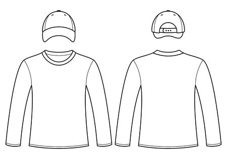 long sleeve: Long-sleeved T-shirt and cap template