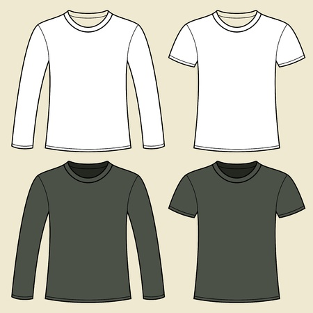 unisex: Long-sleeved T-shirt and T-shirt template