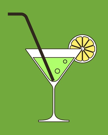 martini glass: Cocktail with lemon and drinking straw