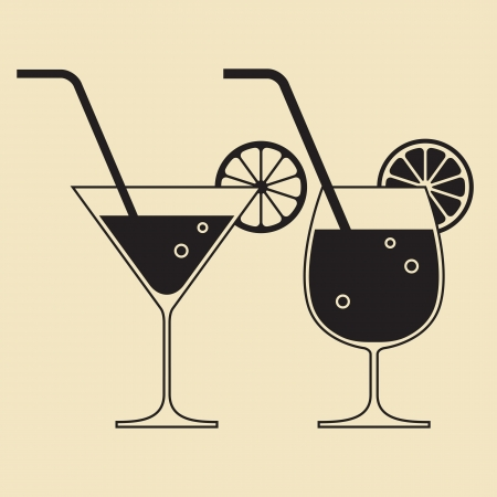 cocktail party: Cocktail glasses Illustration