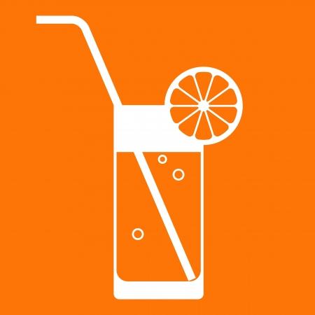 Orange juice glass with drinking straw
