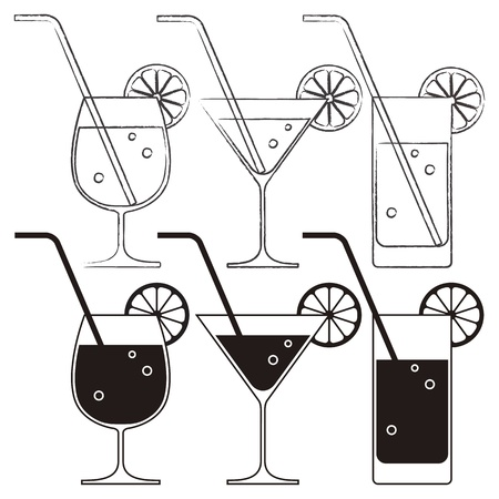 alcoholic drinks: Cocktail glasses with lemon and drinking straw Illustration