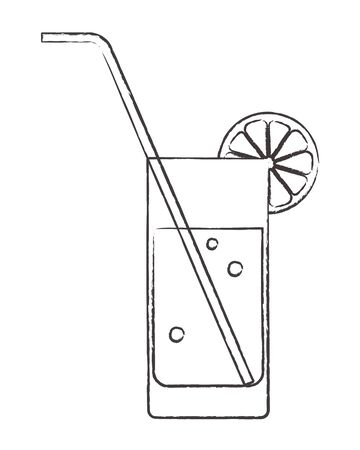 Cocktail glass with lemon and drinking straw Vector