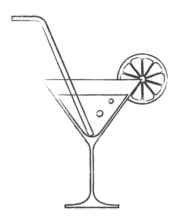 martini glass: Cocktail glass with lemon and drinking straw
