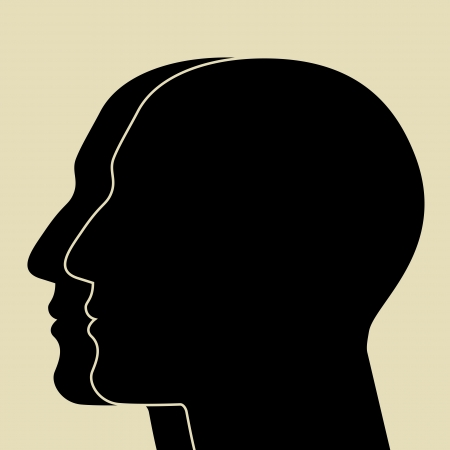 man face profile: Two heads sIlhouette  Illustration