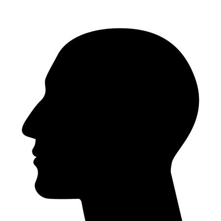 visage profil: Silhouette d'une tête isolée Illustration
