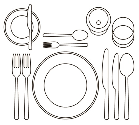 dining tables: Place setting Illustration