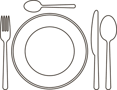 table knife: Place setting with plate, knife, spoons and fork