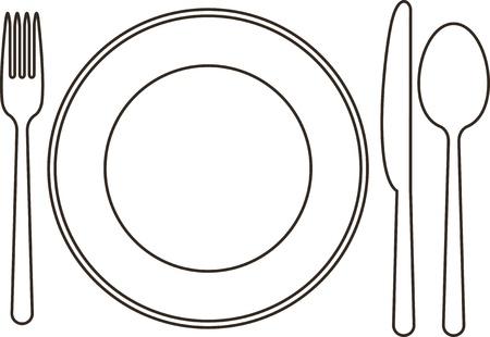 Piatto, coltello, cucchiaio e forchetta