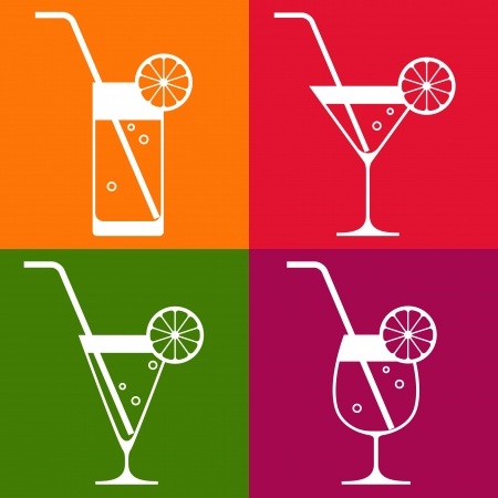 coctail: Coctail glasses with lemon and drinking straw
