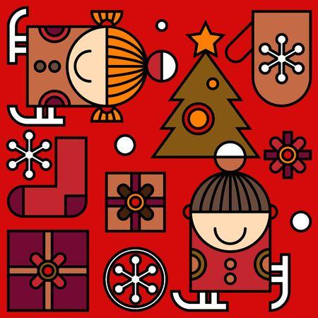 cute kids: Christmas pattern