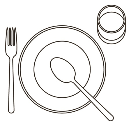 place setting: Place setting with plate, spoon, fork and glass