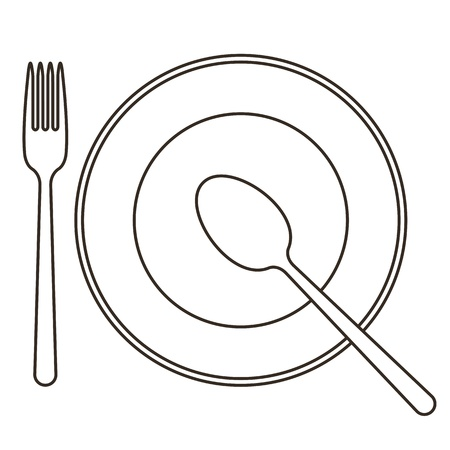 flatware: Place setting with plate, spoon and fork Illustration