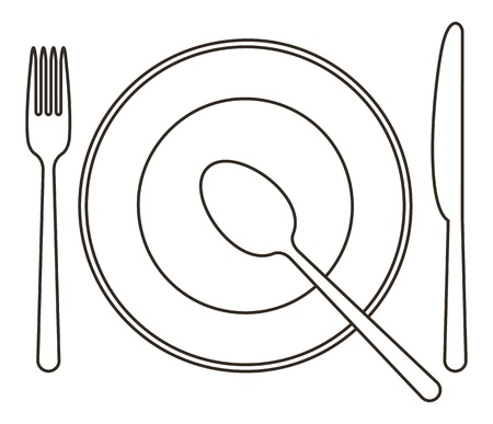 white plate: Place setting with plate, knife, spoon and fork