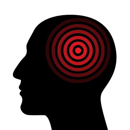 headache: Silhouette of a human head wit the target