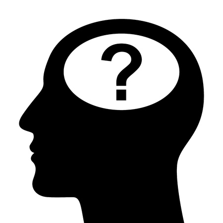SIlhouette of head with question mark  Stock Vector - 16800163