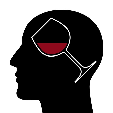 red wine pouring: SIlhouette of head with red wine glass