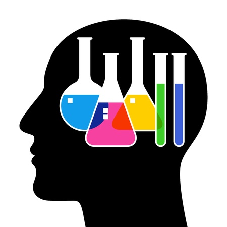 reaction: SIlhouette of head with laboratory glassware