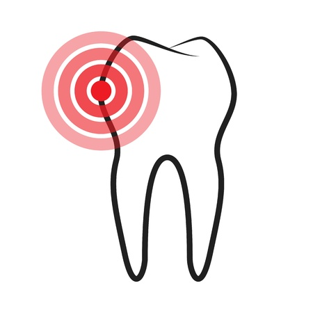 pulsation: Sick tooth isolated on a white background;