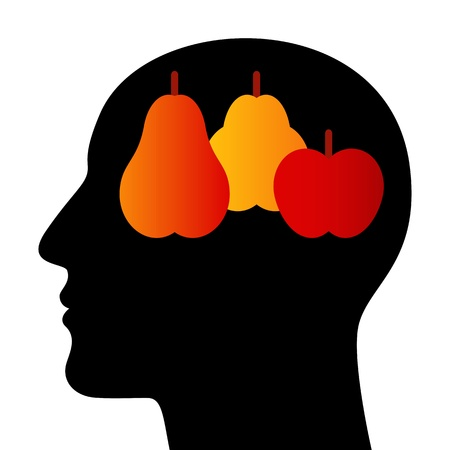 SIlhouette of head with fruits Vector