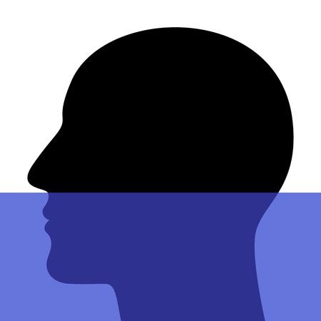 man underwater: A silhouette of a head underwater Illustration