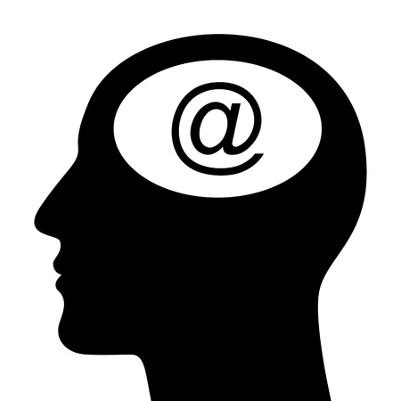 SIlhouette of head with email sign isolated on white Stock Vector - 17151449