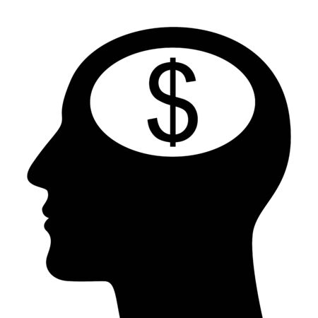 SIlhouette of head with dollar sign isolated on white Stock Vector - 17151447