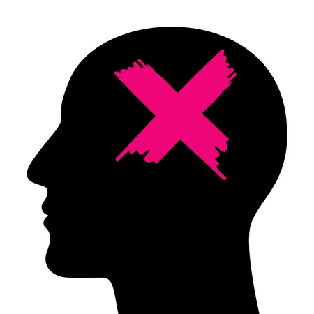 A silhouette of a head with a closed sign. A concept of stress. Vector