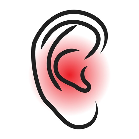 listening to people: Earache - vector illustration