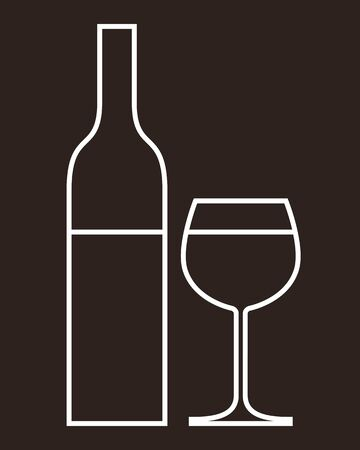 glass of wine: Bottle of wine and glass  Illustration