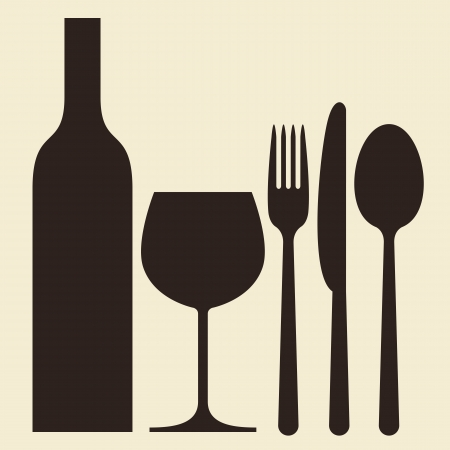 Bottle, wineglass and cutlery Vector