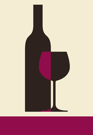 crystal glass: Bottle of wine and glass  Illustration